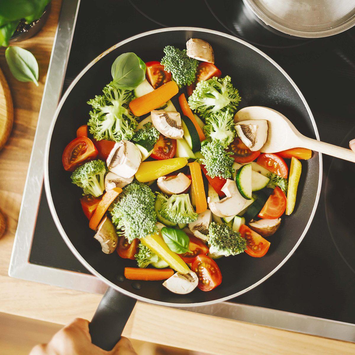 Sautéing veggies in a skillet