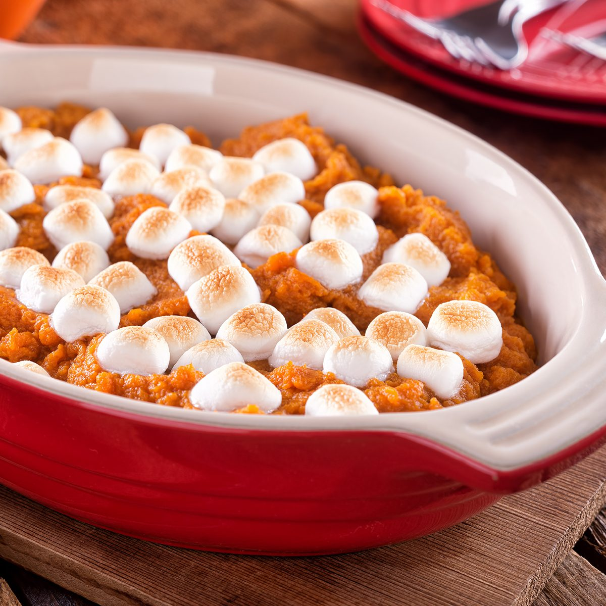 A delicious homemade sweet potato casserole with marshmallow topping.; Shutterstock ID 1501601885; Job (TFH, TOH, RD, BNB, CWM, CM): TOH