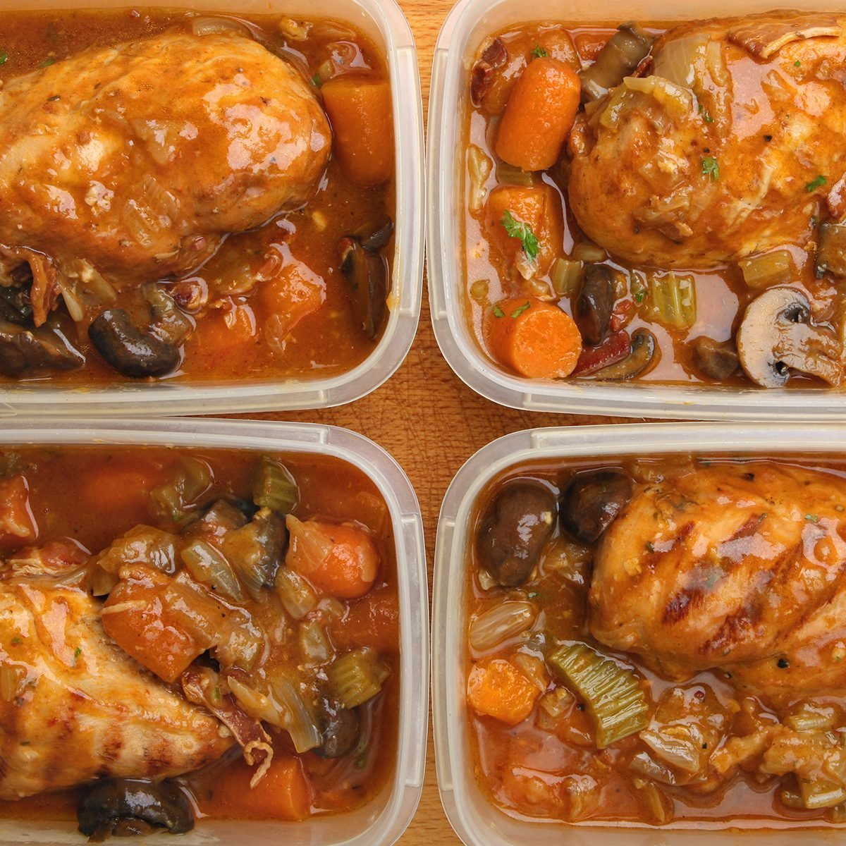 Slow-cooked chicken dinner portions being prepared for freezing or chilling.; Shutterstock ID 224231977; Job (TFH, TOH, RD, BNB, CWM, CM): TOH