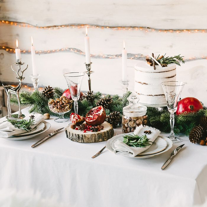 A neat and cozy table for two in christmas decorations