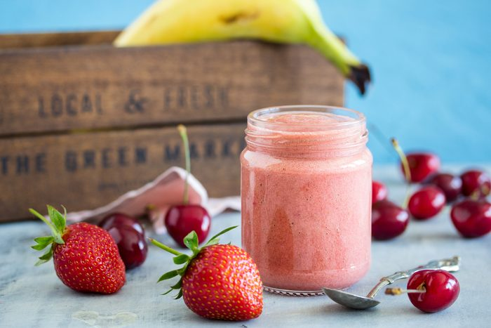 strawberry puree for baby with banana and cherry