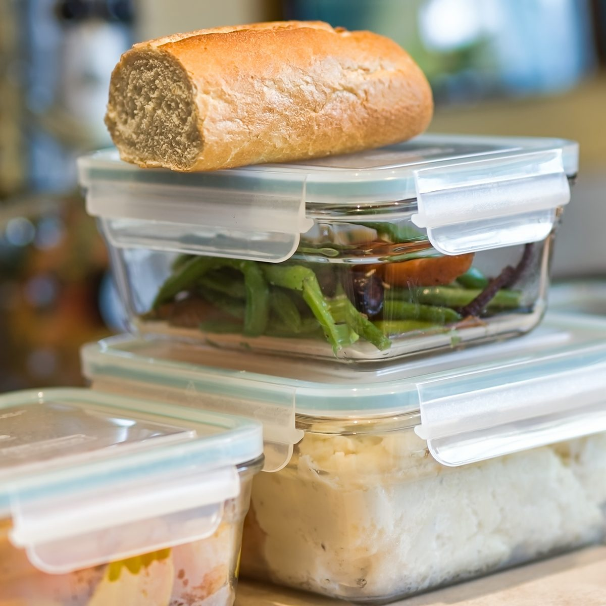 Stacked containers of leftovers