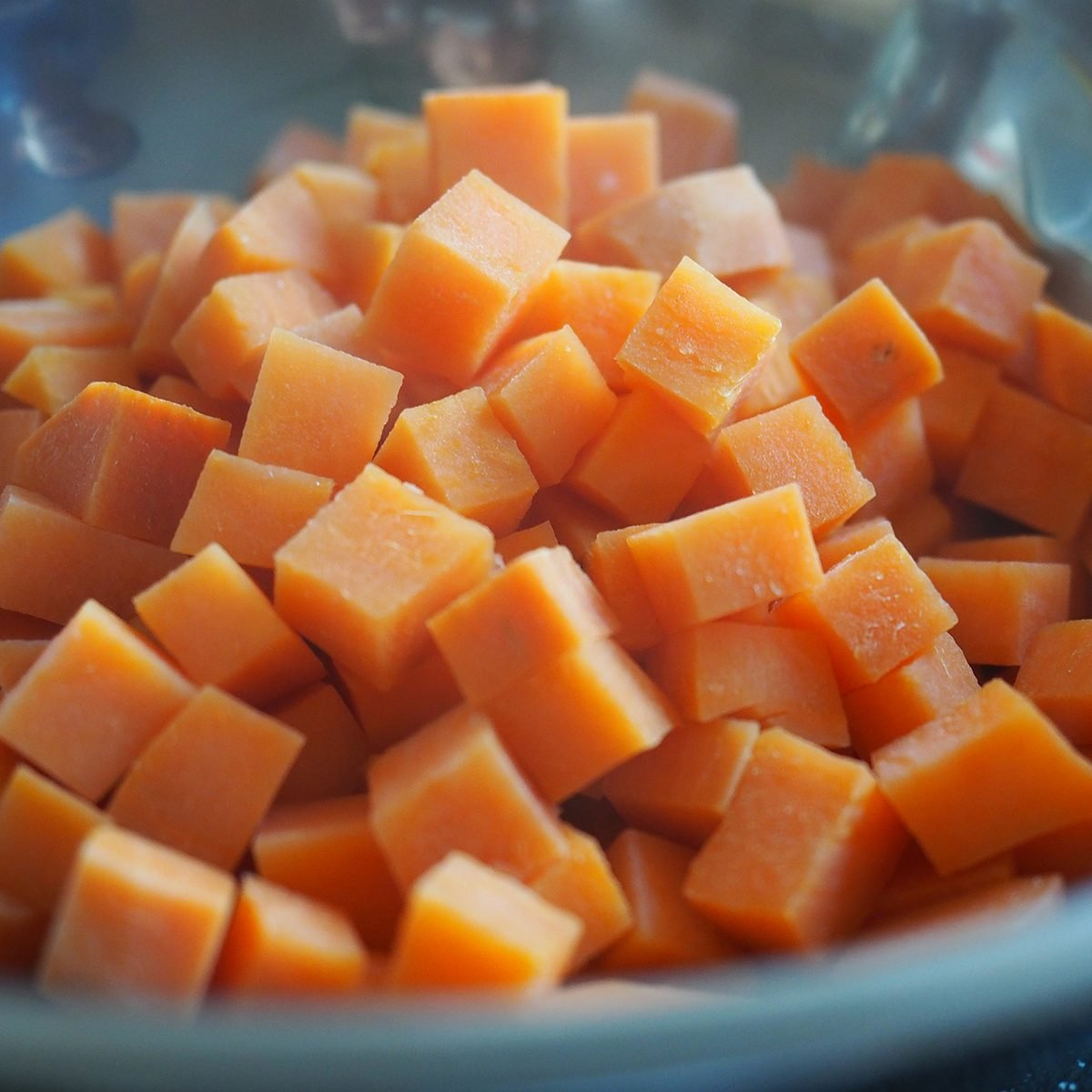 Orange Sweet Potato cut into small cubic shapes and boiled in hot water to soften the texture; Shutterstock ID 1318952024; Job (TFH, TOH, RD, BNB, CWM, CM): TOH