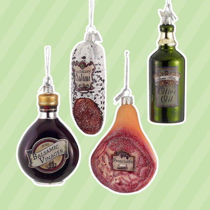 "3.5"" Noble Gems Glass Italian Food Ornament, Set Of 4 Assorted"