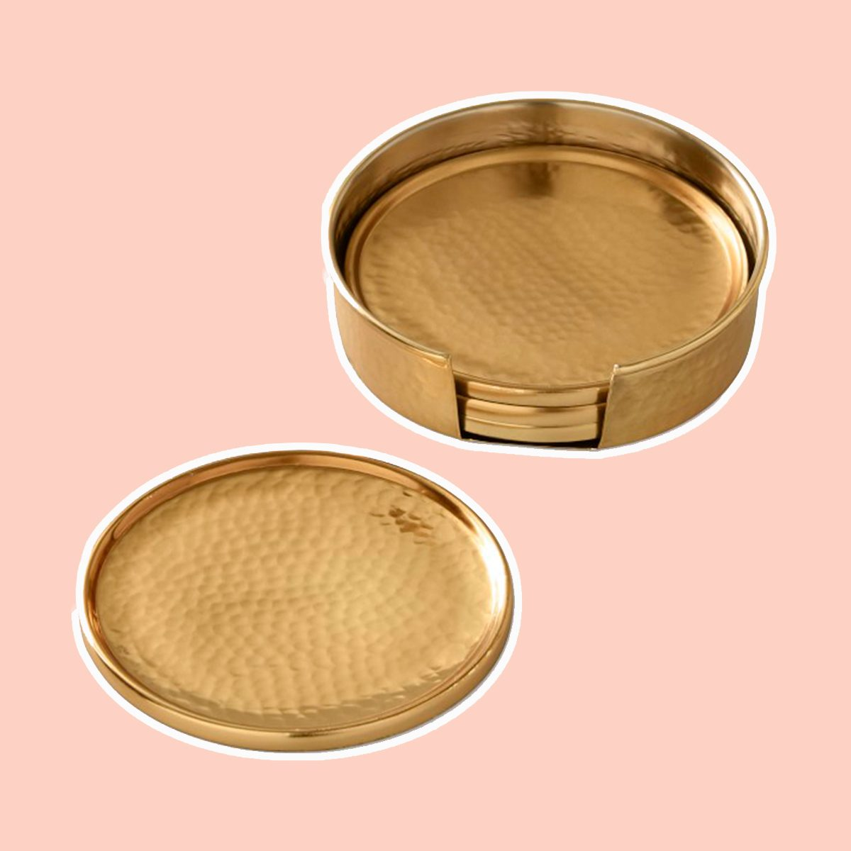 Antique Brass Hammered Coasters with Holder, Set of 4