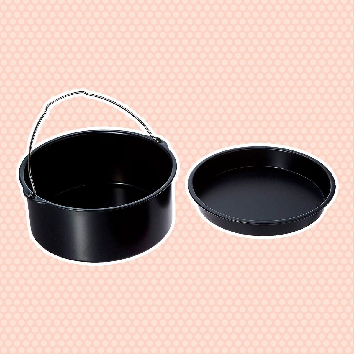 2 Pcs Air Fryer Accessories for 3.2QT-4.2QT Ninja Gourmia Cosori Phillips Gowise, with 7 Inch Cake Barrel, Pizza Pan (Black Round)