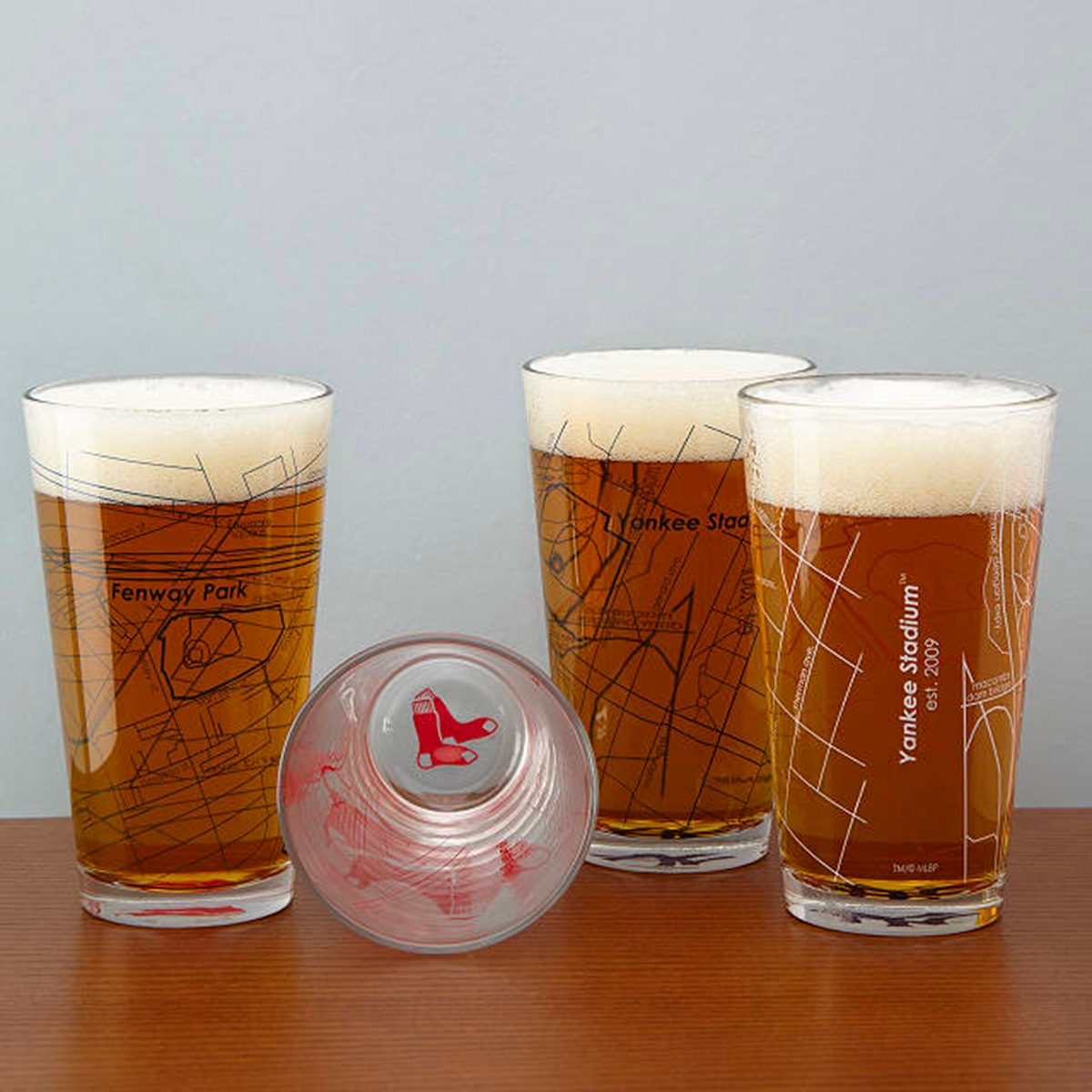 Baseball Park Map Pint Glasses - Set of 2