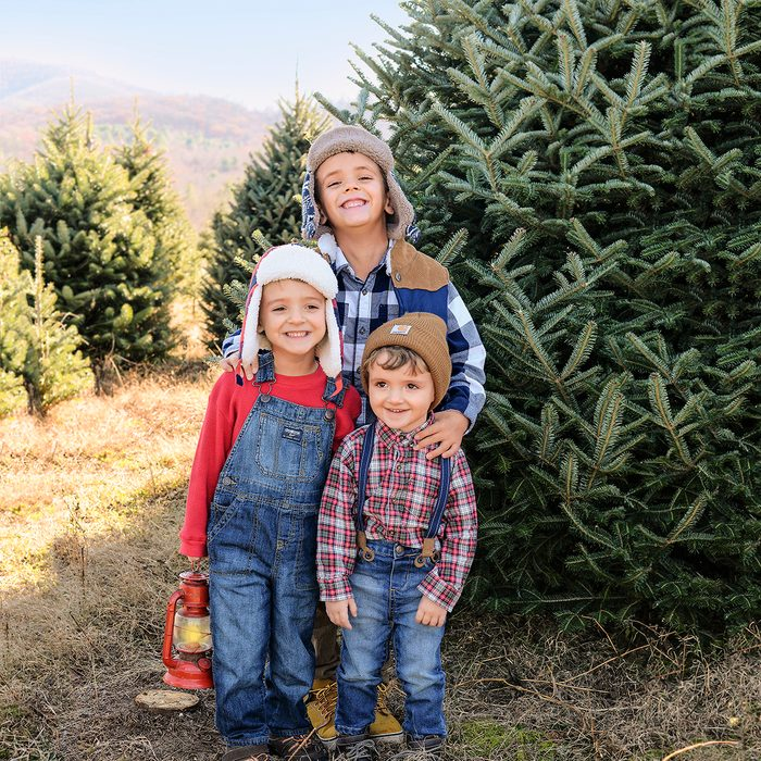 Family picking out a Christmas tree