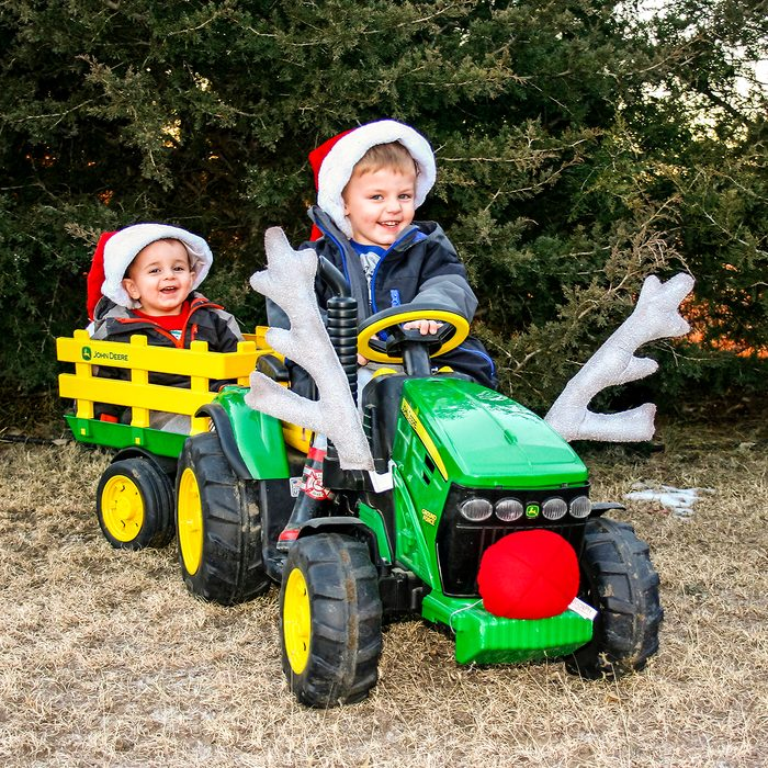 My two little grandsons loved their John Deere battery powered tractor and cart.