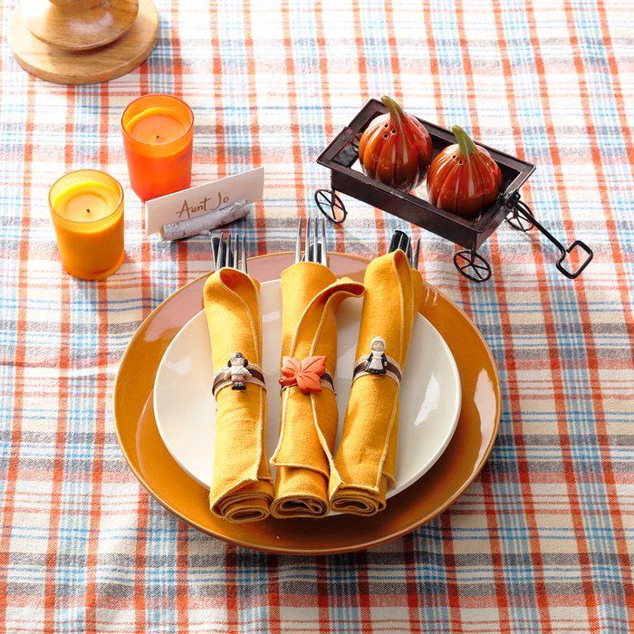 thanksgiving plates, set the table, napkin rings