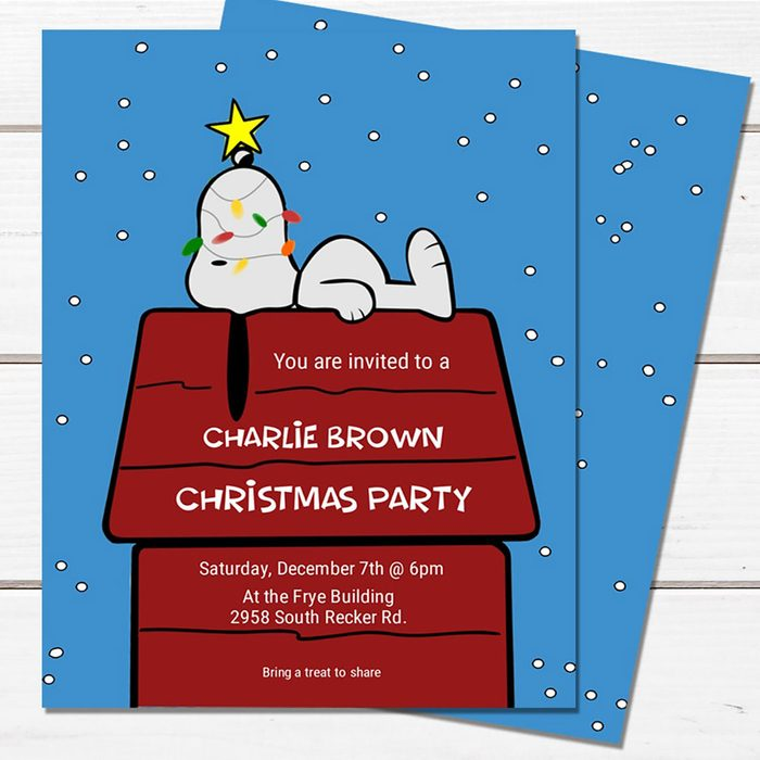 Charlie Brown Christmas Party, invitations