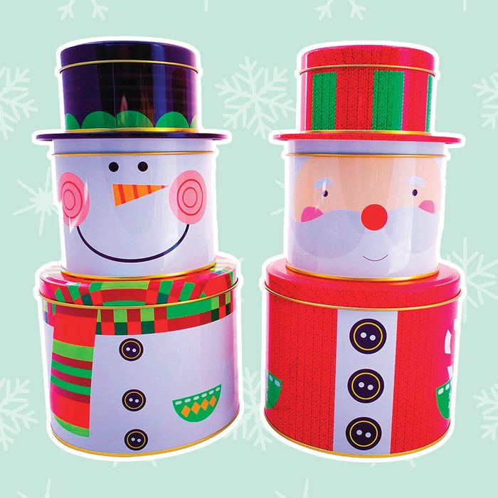 Christmas Nesting Cookie Tins with Lids - Santa Claus and Snowman Nesting Boxes Candy, Cookie, Treats and Chocolate Decorative Holiday Storage Jars