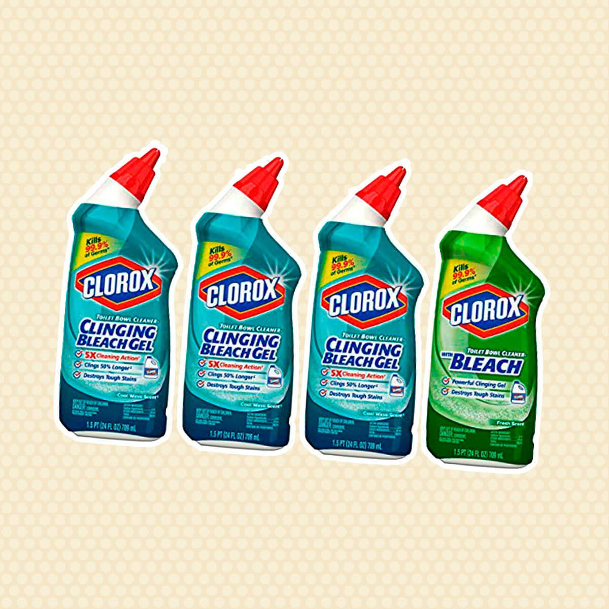 Clorox Toilet Bowl Cleaner with Bleach Variety Pack - 24 Ounces, 4 Pack (Packaging May Vary)