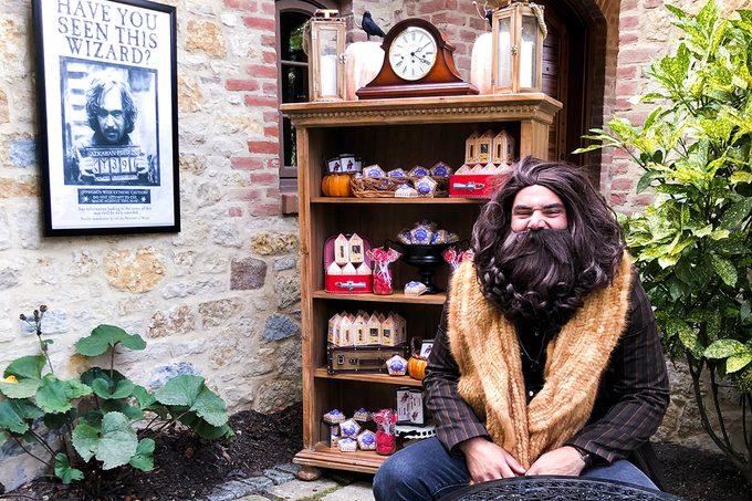 man dressed like hagrrid from harry potter