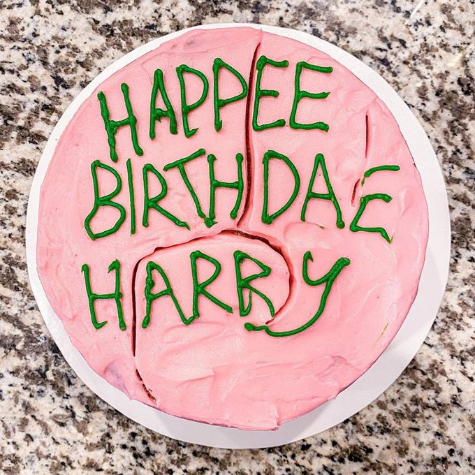 Harry Potter's birthday cake for a Harry Potter themed birthday party