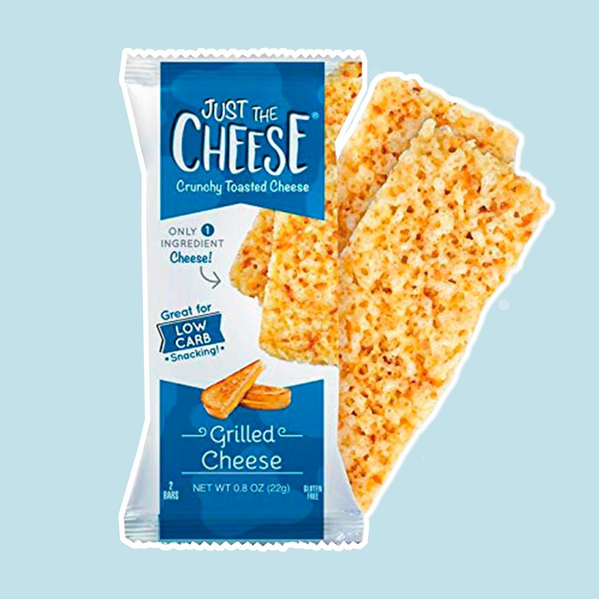 Just the Cheese Bars, Crunchy Baked Low Carb Snack Bars. 100% Natural Cheese. High Protein and Gluten Free, Grilled Cheese (12 Two-Bar Packs)