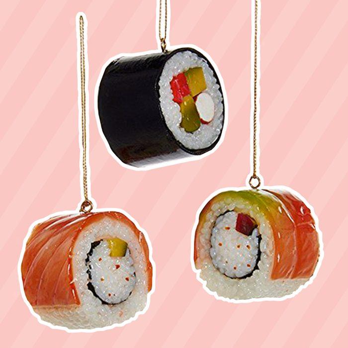 Kurt Adler Plastic Sushi Ornaments, Set of 3
