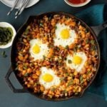 Loaded Huevos Rancheros with Roasted Poblano Peppers