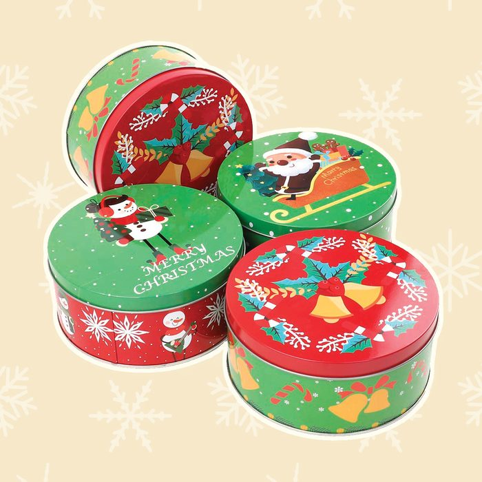 Moretoes 6 Pack Assorted Christmas Small Round Gift Tins for Cookie Candy and Card
