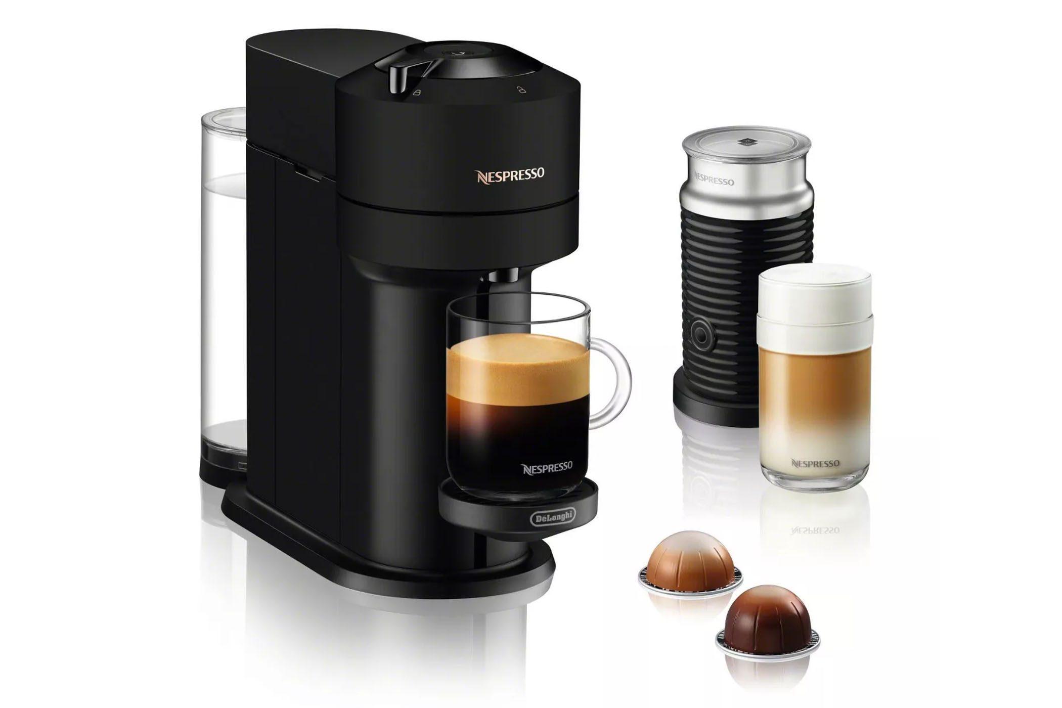 Nespresso Vertuo Next Coffee and Espresso Machine Bundle by De'Longhi - Limited Edition Black Matte