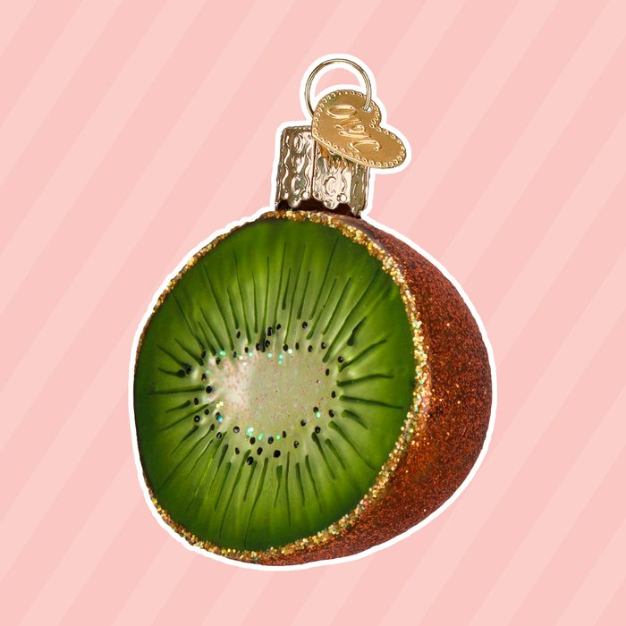 Old World Christmas Glass Blown Ornament with S-Hook and Gift Box, Fruit Collection (Kiwi)