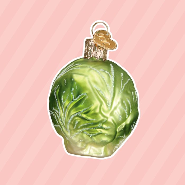 Old World Christmas Glass Blown Ornament with S-Hook and Gift Box, More Food Collection (Brussel Sprout)