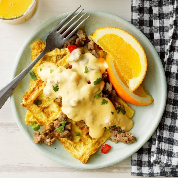 Omelet Waffles With Sausage Cheese Sauce  Exps Toham20 237490 E11 07 5b 2