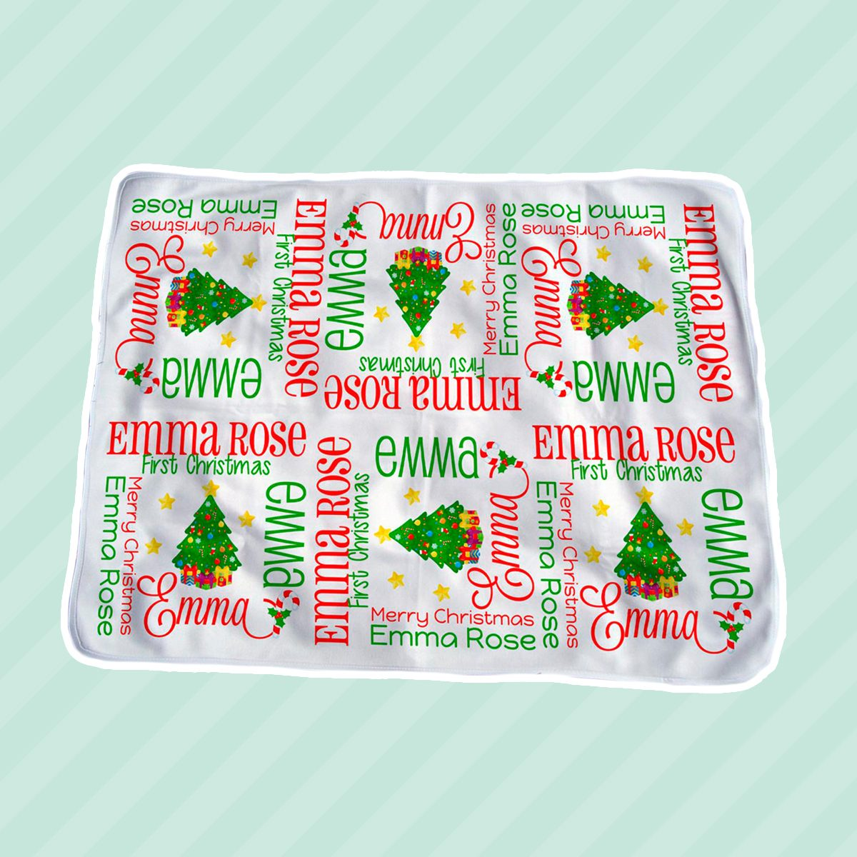 1st Christmas Baby Blanket Personalized - Christmas Tree Receiving Blanket - Holiday Baby Name Blanket - First Christmas Swaddling Blanket