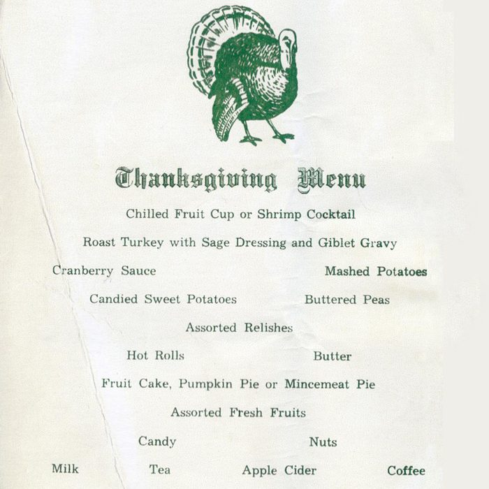 a printed thanksgiving menu for service members in 1955