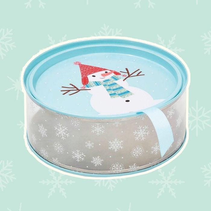 Round Cookie Tin Christmas Gift Box Snowman Lid & Snowflake side