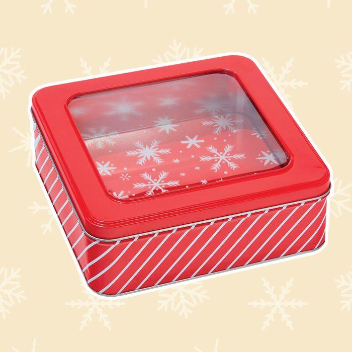Square Window Cookie Christmas Tin Gift Box Red Stripe - Wondershop™