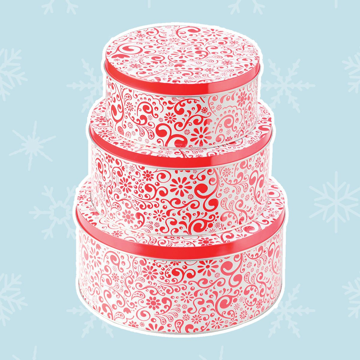 CHRISTMAS HOLIDAY COOKIE TINS Nesting Metal Gift Boxes SELECT Size /& Design