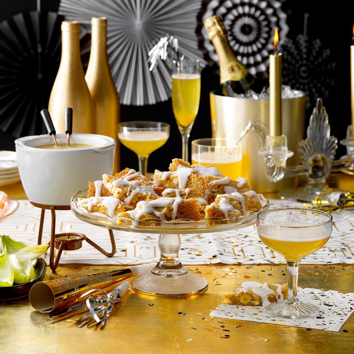 Champagne Blondies; Champagne Fondue; Mango Bellini