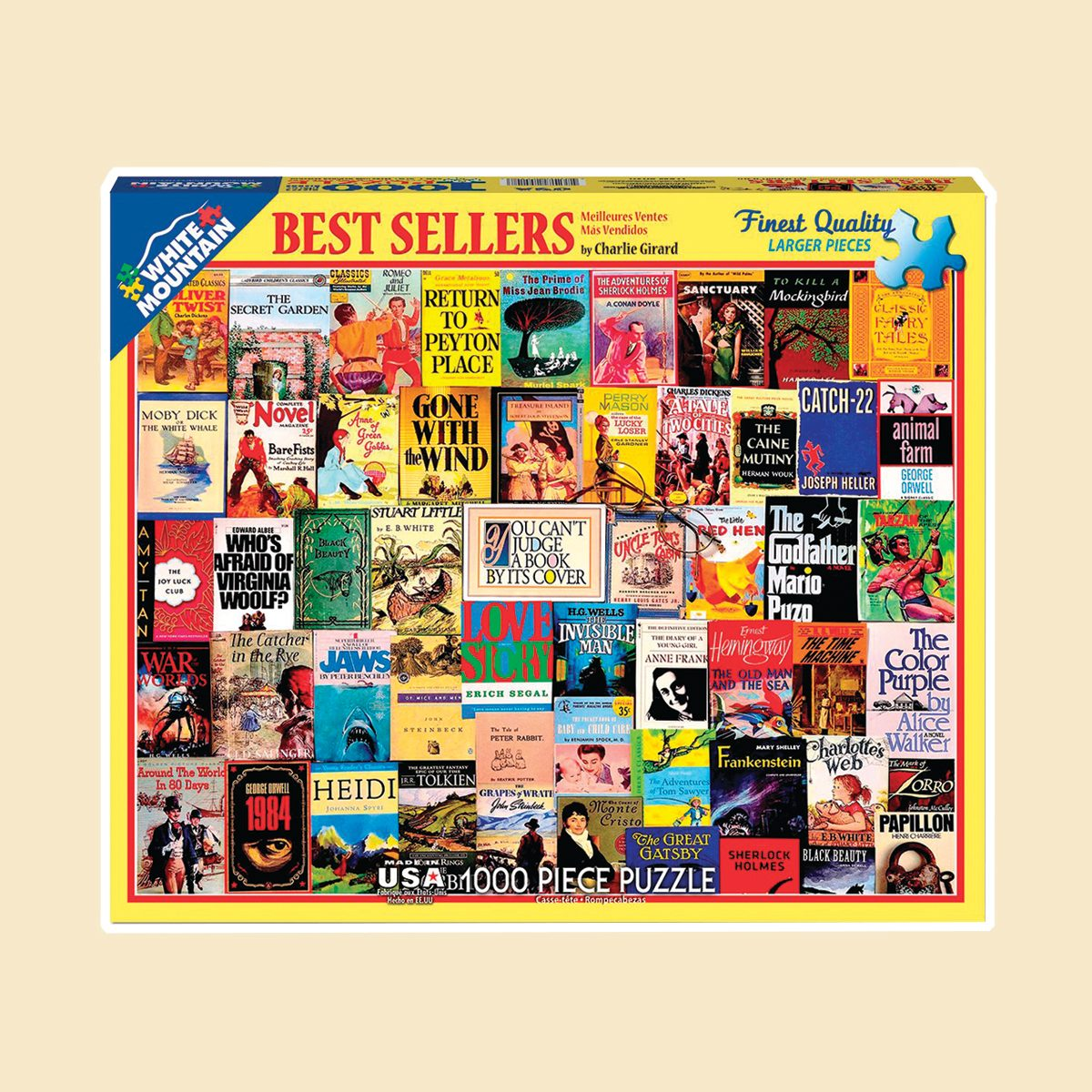 "White Mountain Puzzles ""Best Sellers"", Vintage Book Covers Collage, 1000 Piece Jigsaw Puzzle"