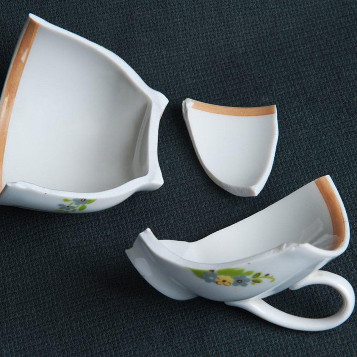 Broken ceramic cup