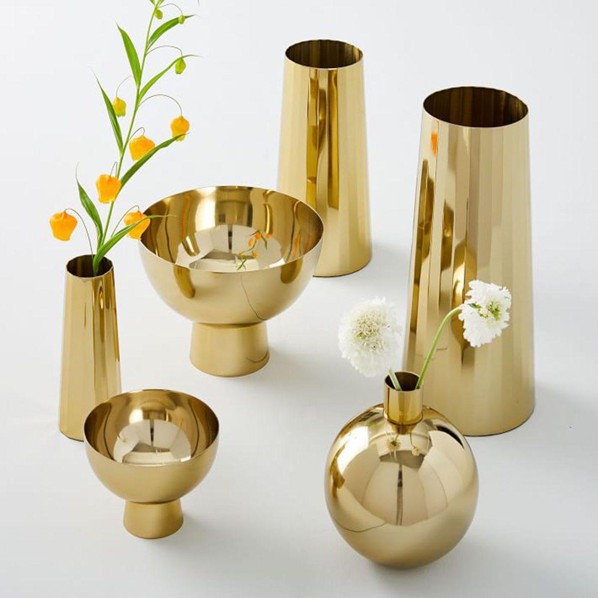 Bold brass vases