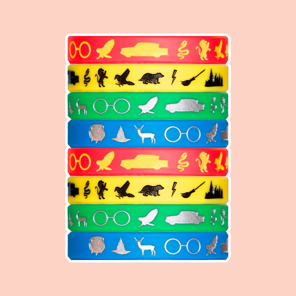 Wizard Houses Silicone Wristbands - 8 Pack Party Favor Set (2 of Each Color) Makes a Great Stocking Stuffer - Makes a Great Gift Under $15