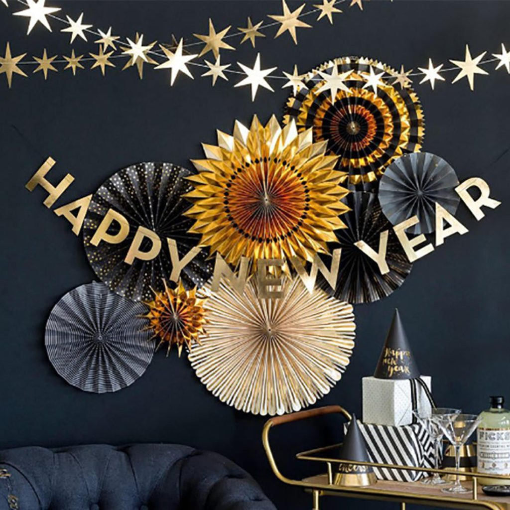 Happy New Year Banner | Gold New Years Eve Party Decorations - New Year Decorations - NYE Decor - New Years Eve 2020 - NYE Party Decor