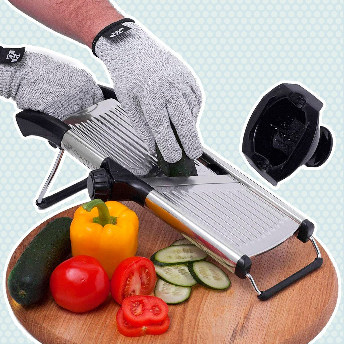 Mandoline Slicer with Cut-Resistant Gloves and Blade Guard