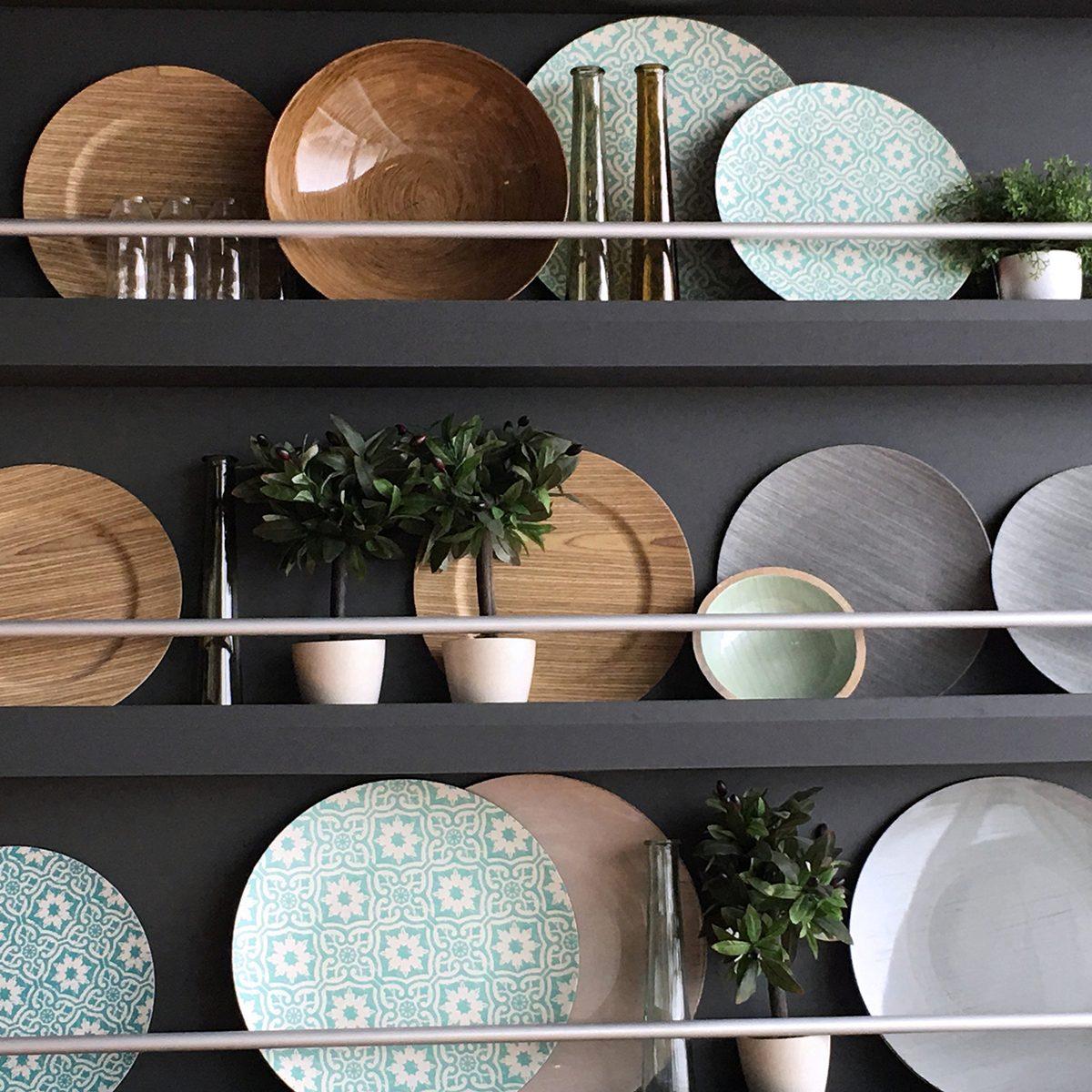 Floating shelf of dishes
