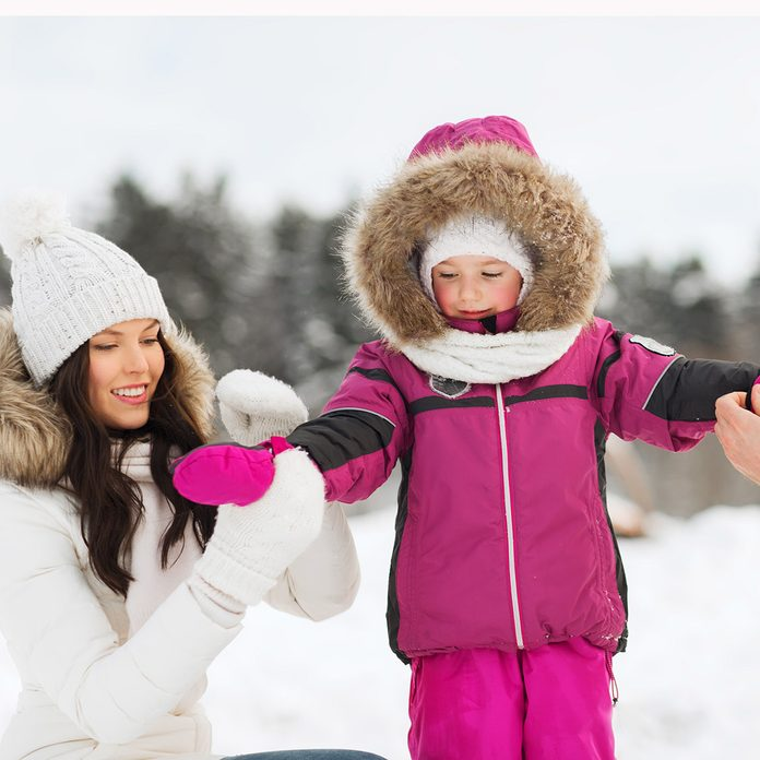 happy family with child in winter clothes outdoors; Shutterstock ID 371569474; Job (TFH, TOH, RD, BNB, CWM, CM): Taste of Home