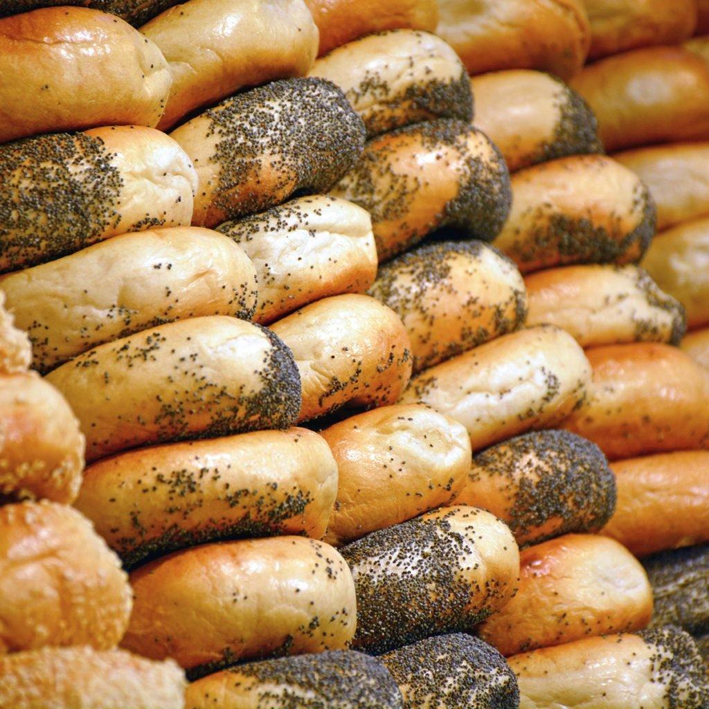 Rows of freshly made bagels; Shutterstock ID 517723891; Job (TFH, TOH, RD, BNB, CWM, CM): Taste of Home