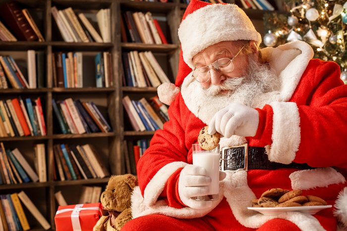 Santa Claus in the library on Christmas Eve