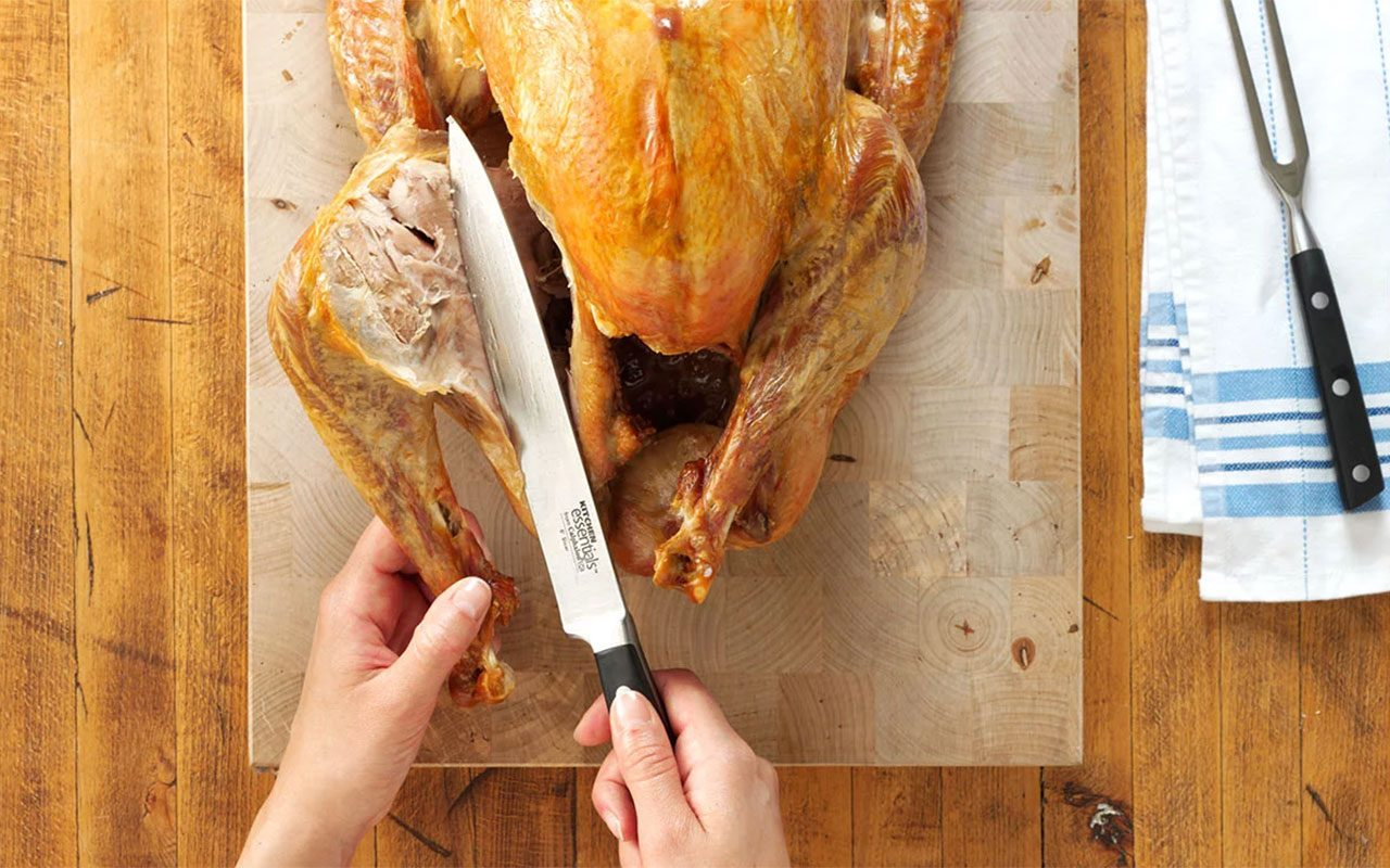 Slicing leg off a turkey