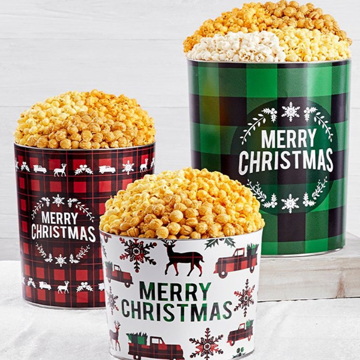 The Popcorn Factory Very Merry Plaid Popcorn Tin