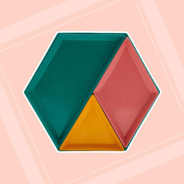Colorful hexagonal tray
