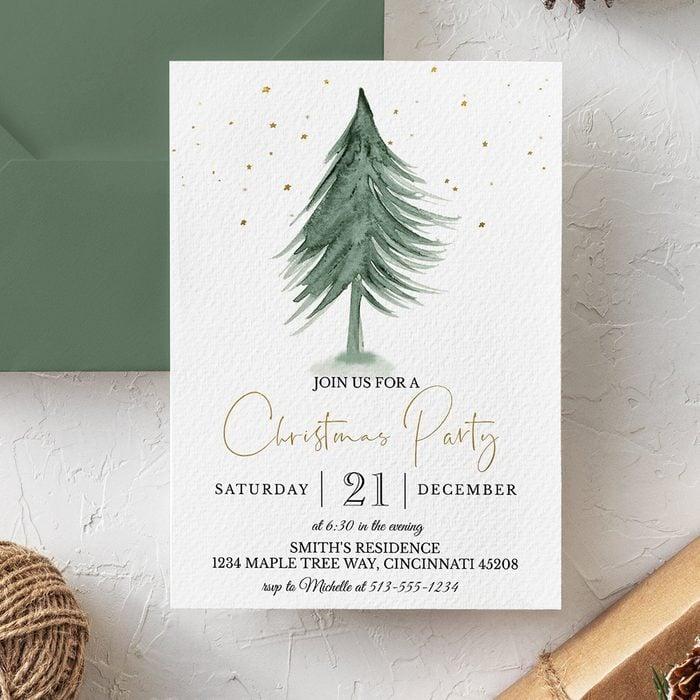 Christmas Party Invitation - INSTANT DOWNLOAD - printable digital custom Editable Template tree silent night company corporate stars elegant