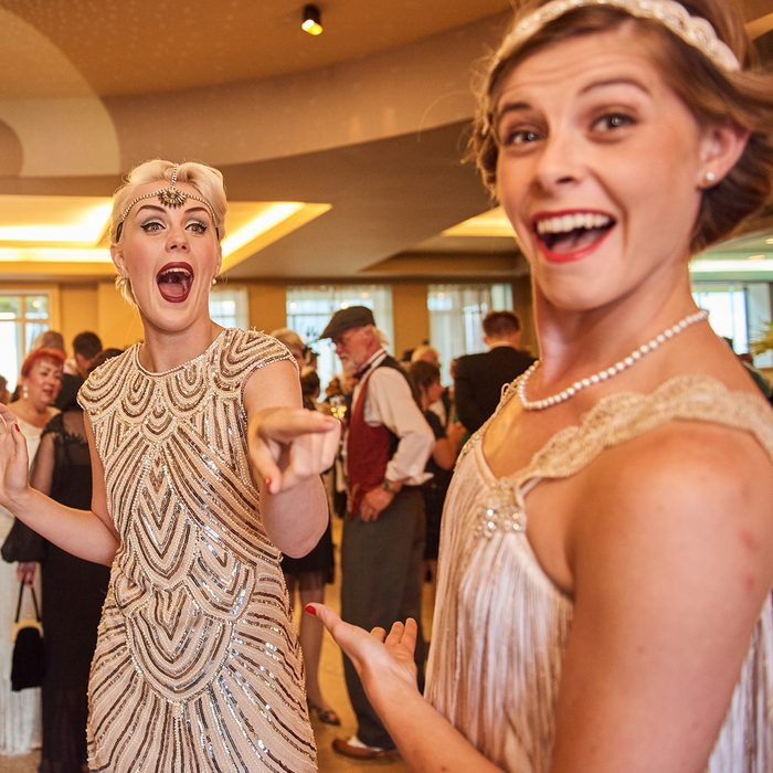 10/10/2018 london, england, Vintage retro Great gatsby girls dancing in formation
