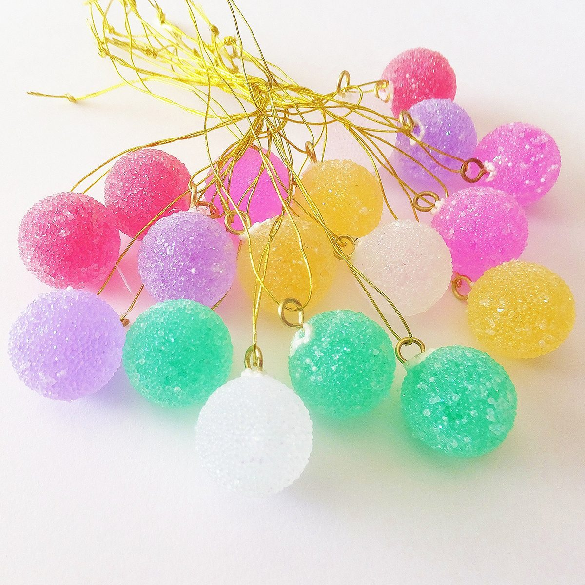 Gum Drops Pastel Ornaments ~ Candyland Tree ~ Fairy Garden, Putz & Doll House ~ Craft Supply ~ Christmas Gingerbread House Decor ~ 18ct.