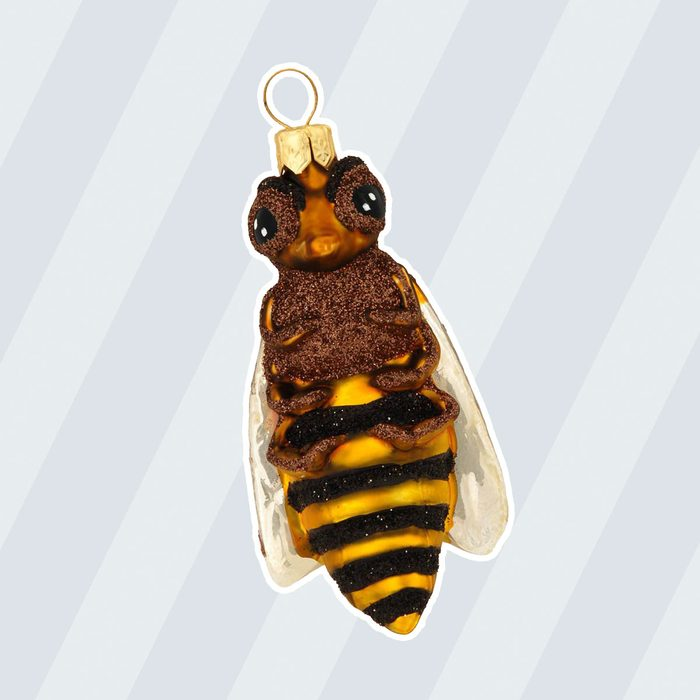 Honey Bee Glass Ornament